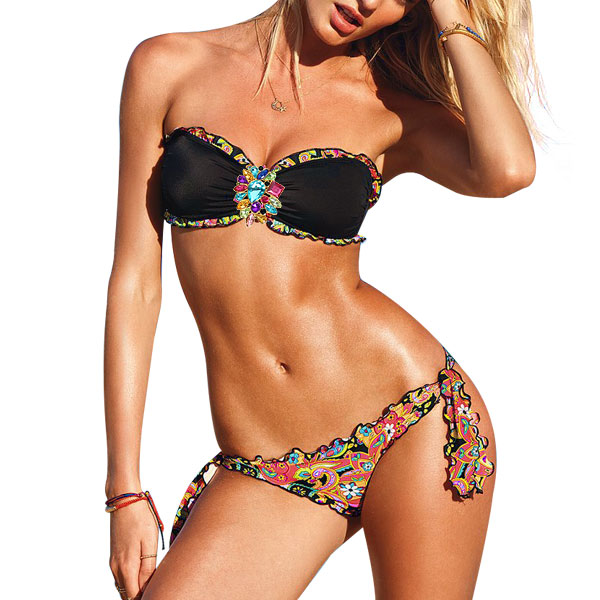 Women Floral Pattern Padded Bust Bra Self-tie Bottom Swimwear Suit Black XS