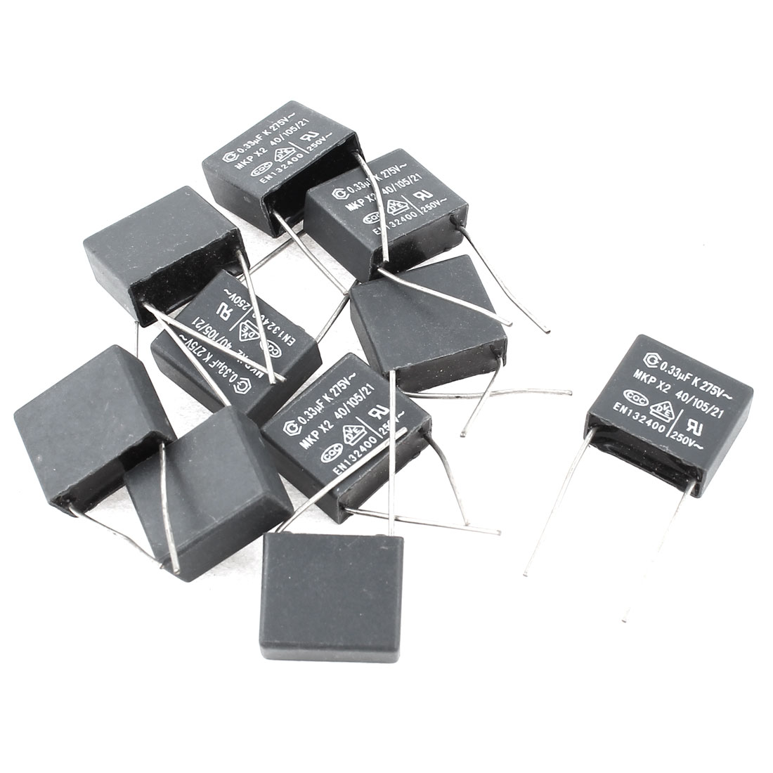 10pcs AC275V 0.33uF Capacitance Two Axial Leads Polyester Film Capacitors