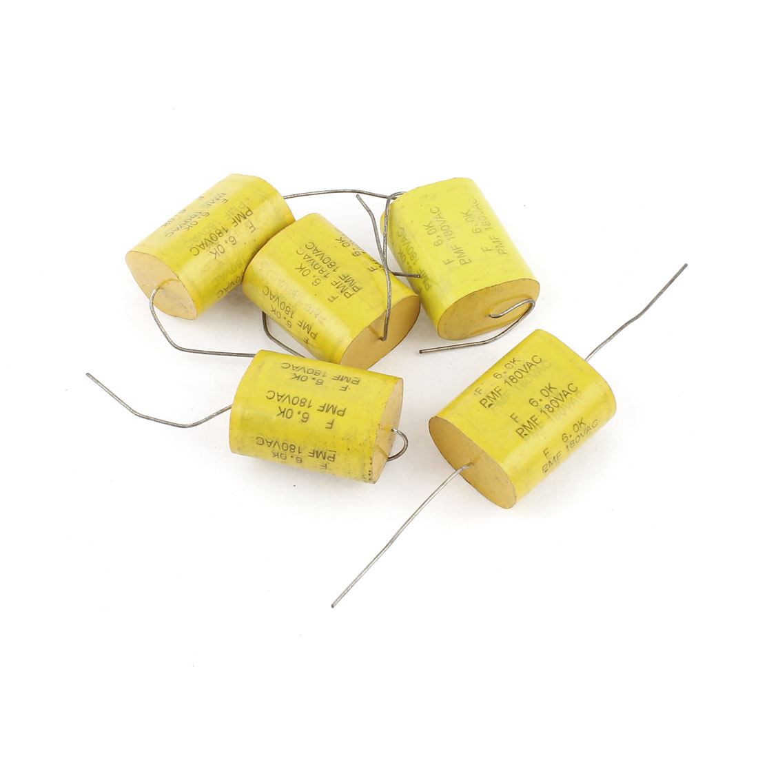5 Pcs AC 180V 5% 6uf Capacitance Axial Lead Through Hole Metallized Film Capacitor Yellow