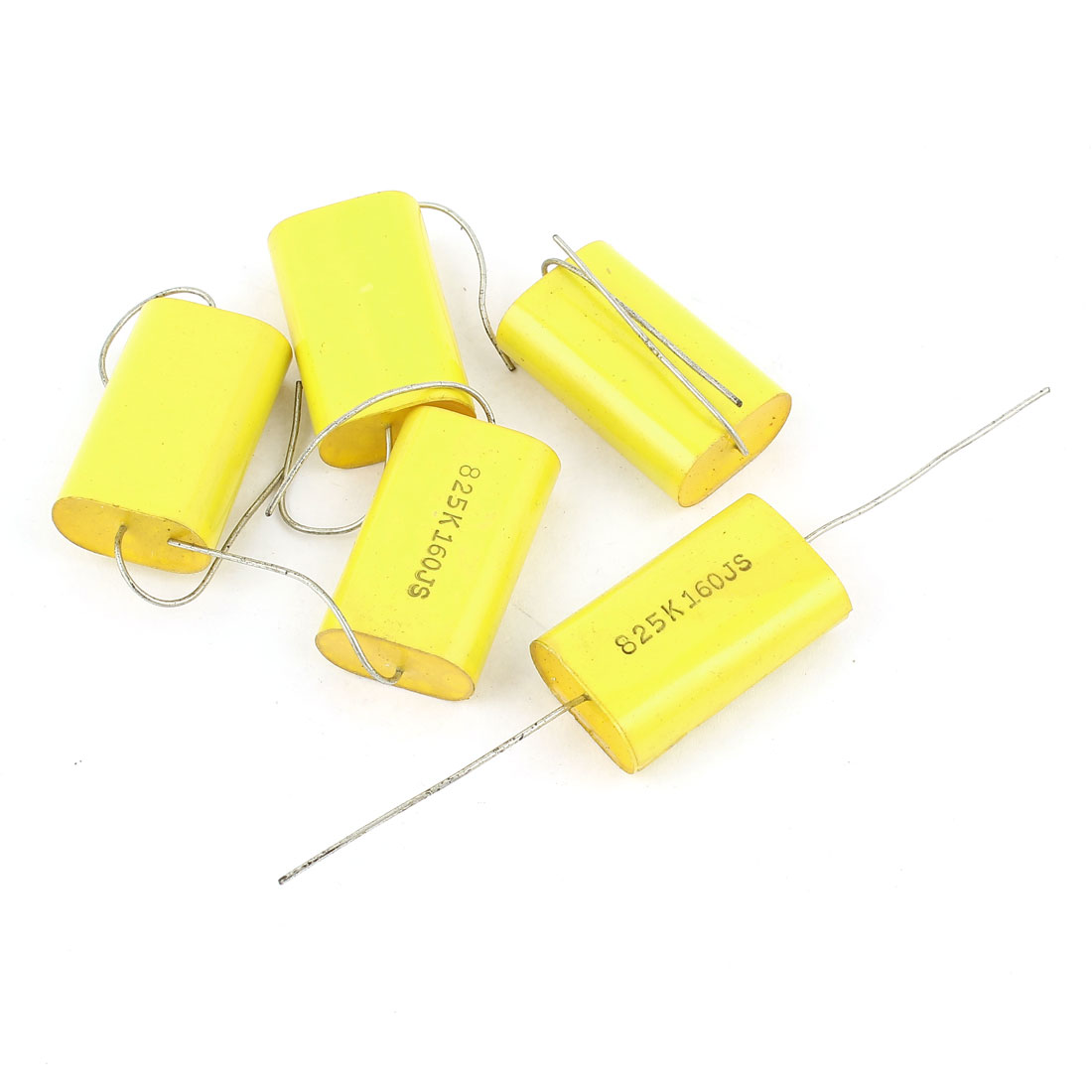 5Pcs AC 160V 5% Tolerance 8.2uf Capacitance Axial Lead Through Hole Polyster Tape Metallized Film Capacitor Yellow