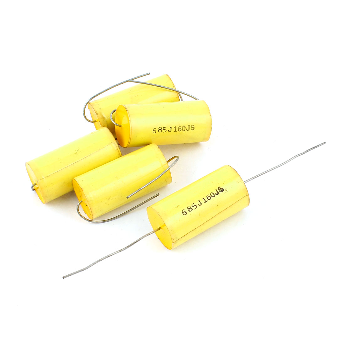 5Pcs AC 160V 5% 6.8uf Capacitance Axial Lead Through Hole Mount Metallized Film Capacitor Yellow