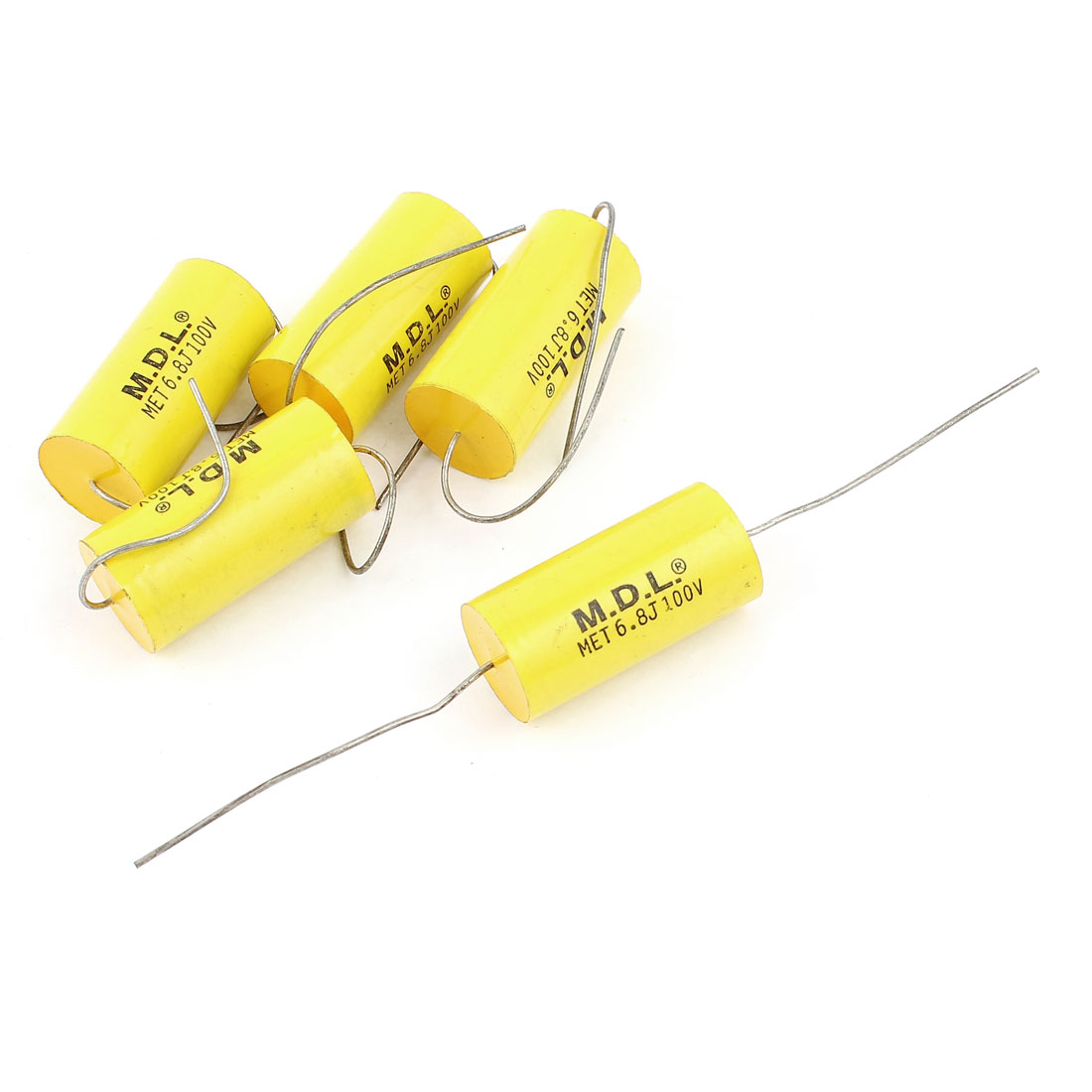 5 Pcs AC100V 5% 6.8uf Capacitance Axial Lead Through Hole Mount Metallized Film Capacitor Yellow