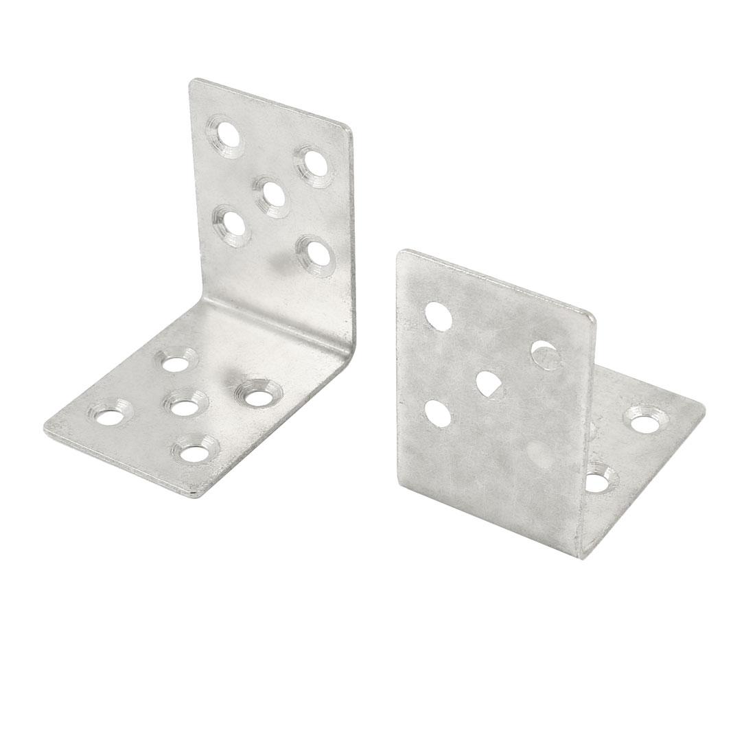 2 Pcs Silver Tone Right Angle Bracket Fastener 5cm x 5cm