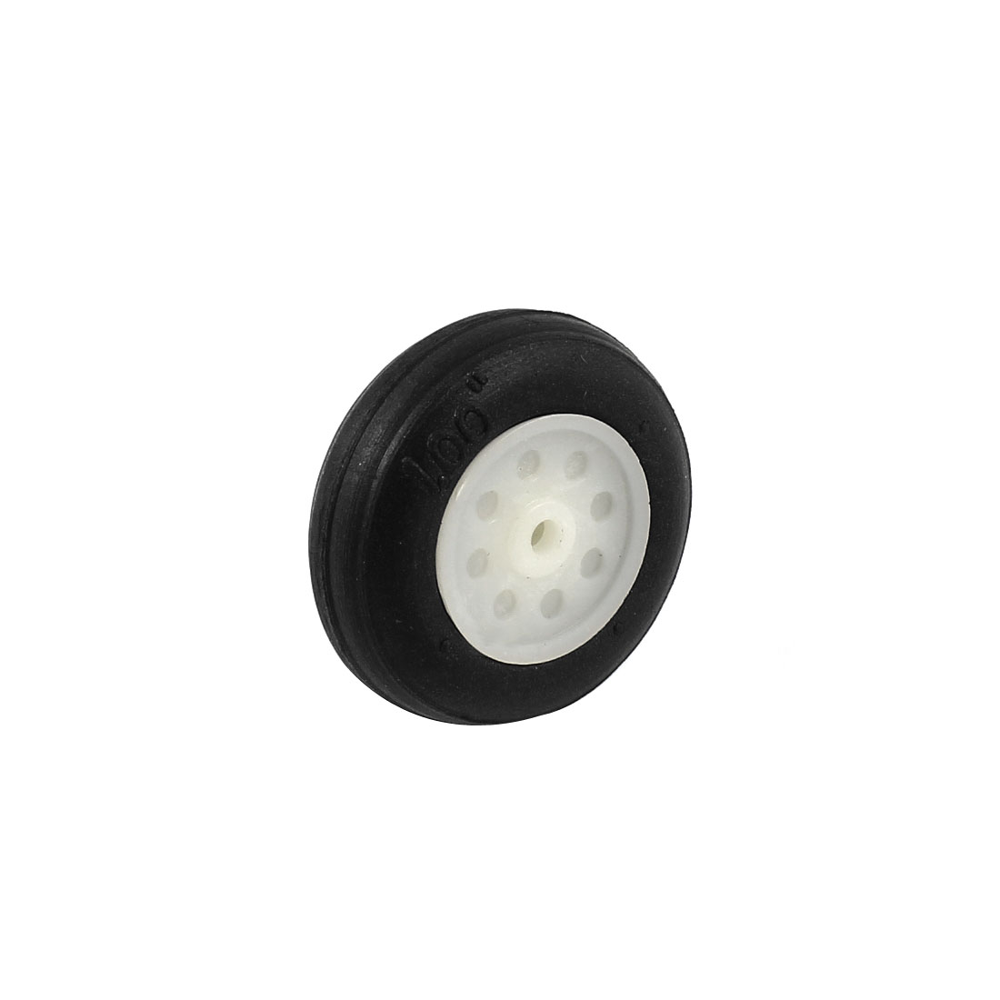 "White Plastic Hub Black PU Wheel 25mm 1"" Diameter for RC Aircraft Model Toy"