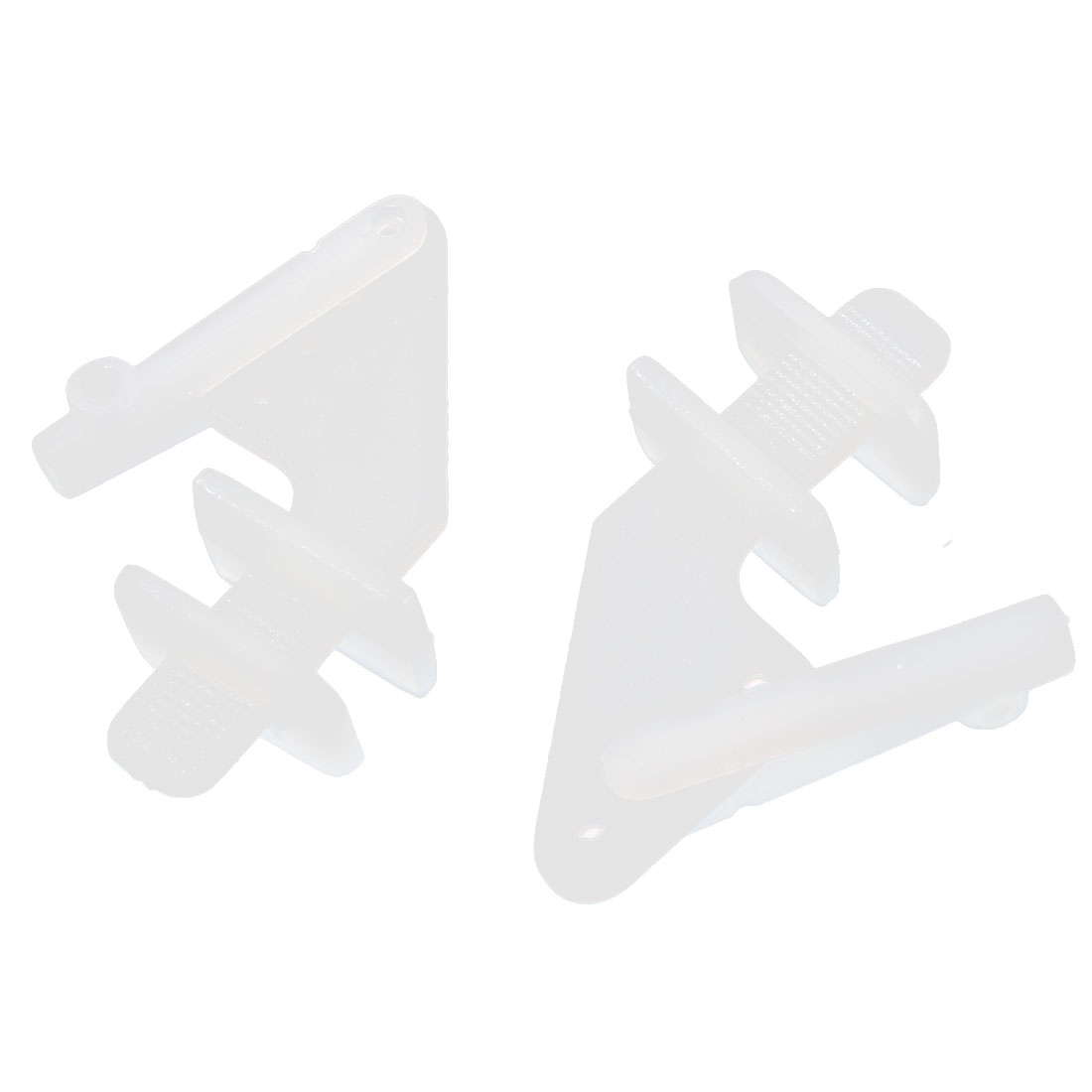 2 Pcs White Plastic Four Holes Control Horns for RC Toy Models