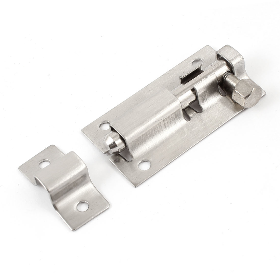 Silver Tone Stainless Steel Security Door Windows Barrel Bolt Latch 2""