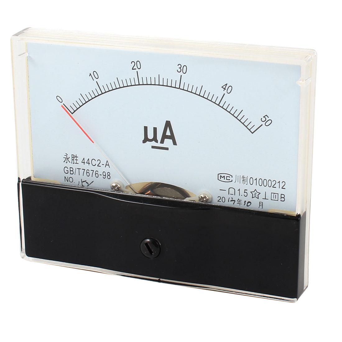 44C2 DC 0-50UA Fine Tuning Dial Current Tester Panel Ampere Meter Amperemeter