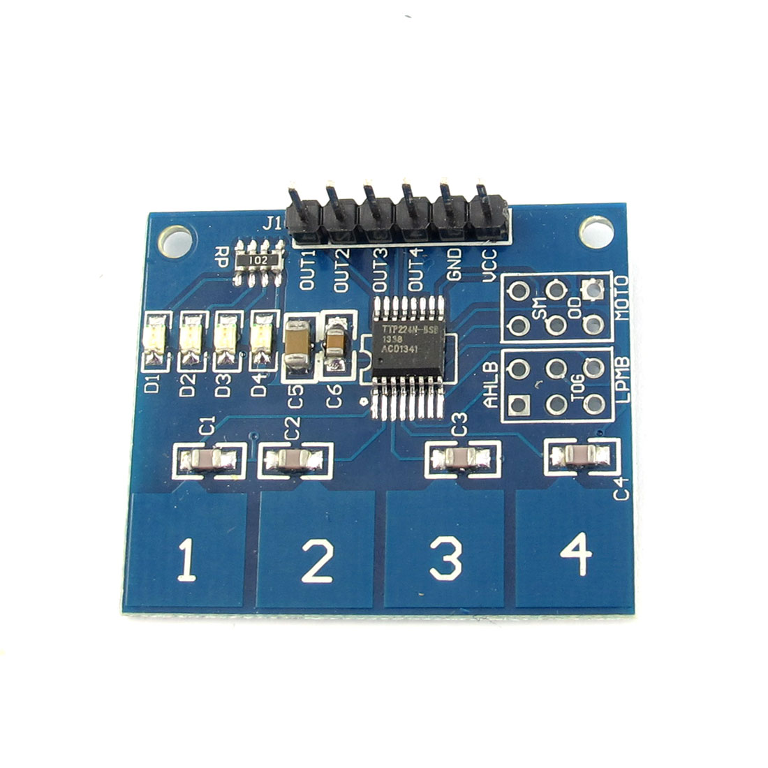 TTP224 4-Channel Capacitive Touch Key Digital Touch Sensor Module PCB Board DC 3-5V