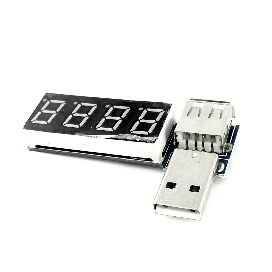 DC3.5-7V 0-3A 4-Digit LED Display USB2.0 Male Female Current Voltage Detector Tester Module