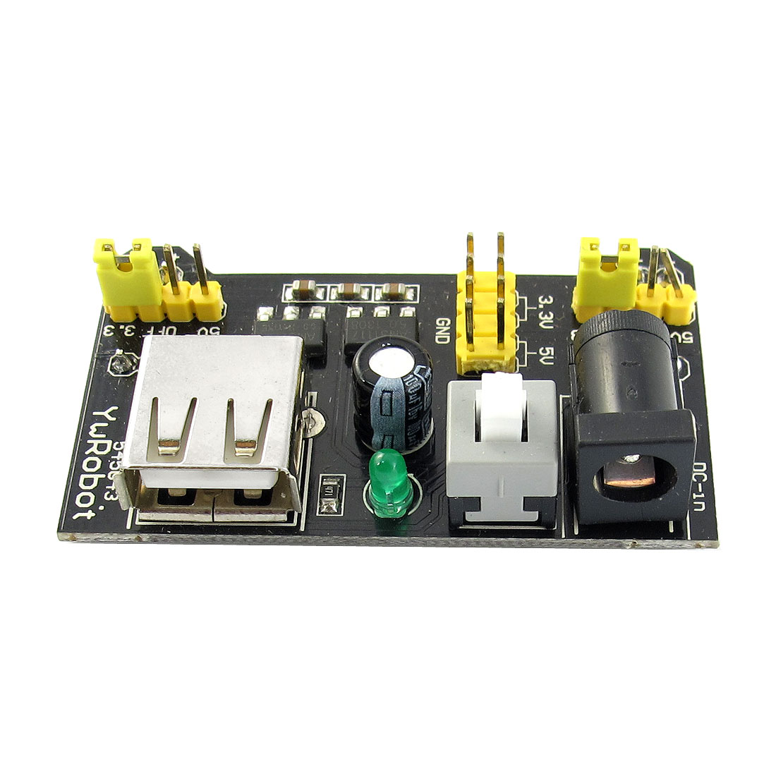 DC6.5-12V to DC 5V 3.3V 6.4mm DC Power Jack USB2.0 Charging Breadboard Dedicated Power Supply PCB Module