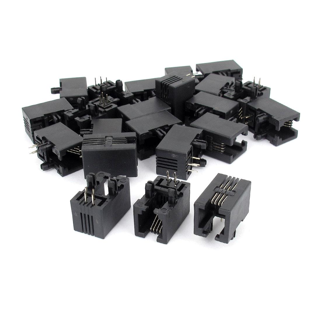 22Pcs Right Angle 4 Pins PCB Mounting Type RJ11 4P4C Modular Telephone Jack Socket