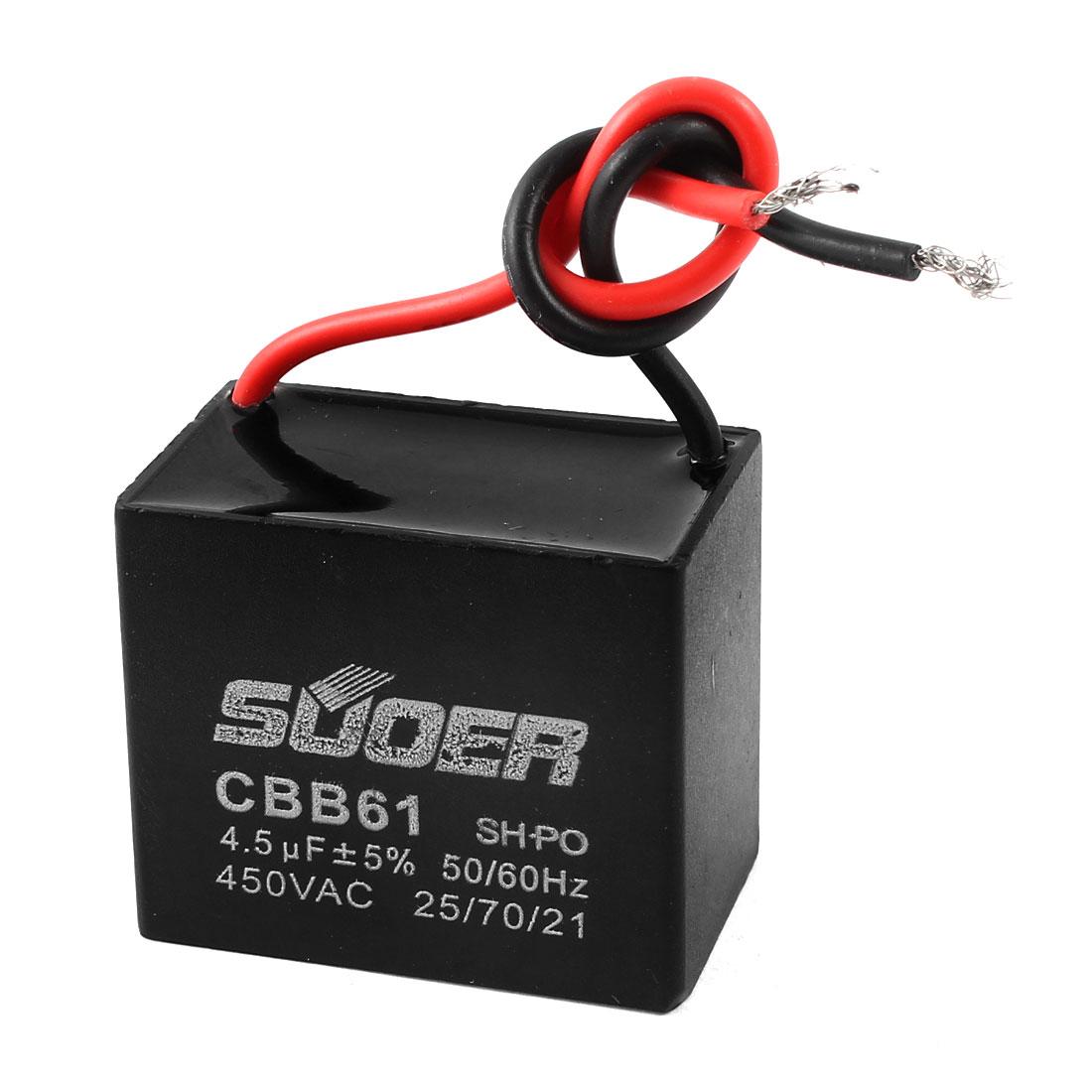 CBB61 AC 450V 4.5uF 5% Polypropylene Film Motor Running Capacitor Black