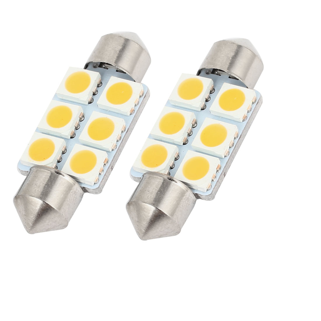 "2PCS 36mm 1.5"" 6-SMD 5050 Warm White LED Festoon Dome Light DE3425 6418 Internal"