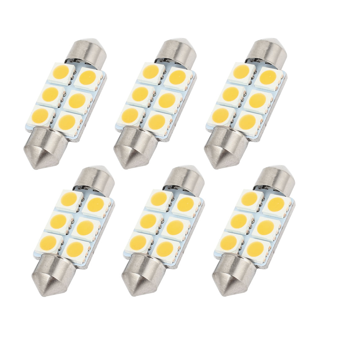 6pcs 36mm 6LED 5050 SMD Warm White Festoon Dome Light Bulbs DE3423 6461 Internal