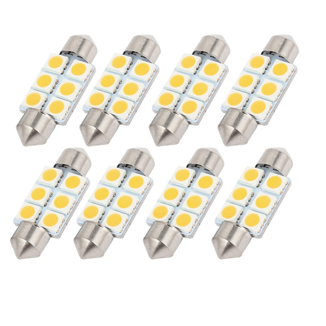 "8 Pcs 36mm 1.50"" 6-SMD 5050 Warm White LED Festoon Dome Light DE3423 Internal"