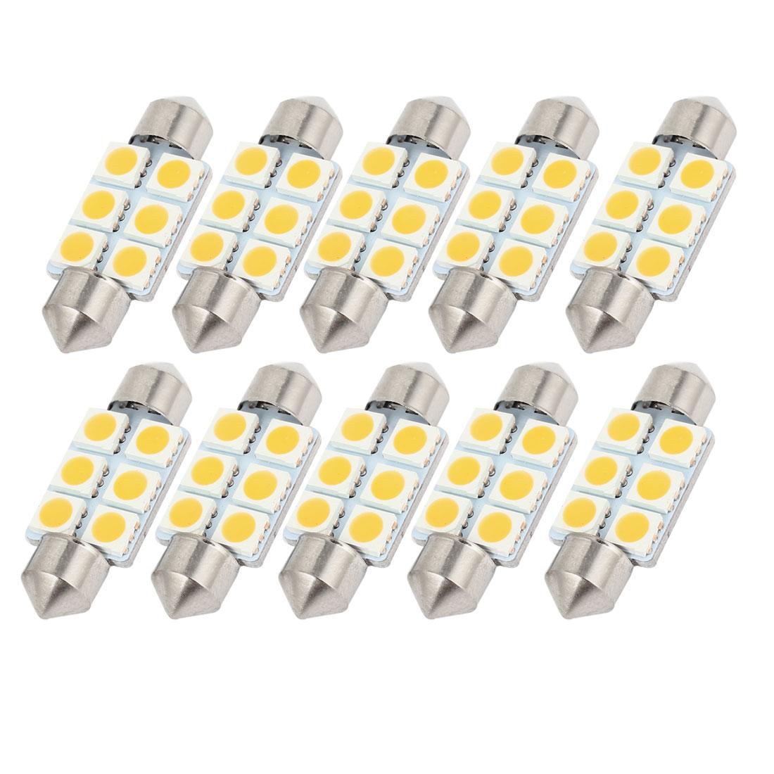 "10PCS 36mm 1.5"" 6-SMD 5050 Warm White LED Festoon Dome Light DE3425 Internal"