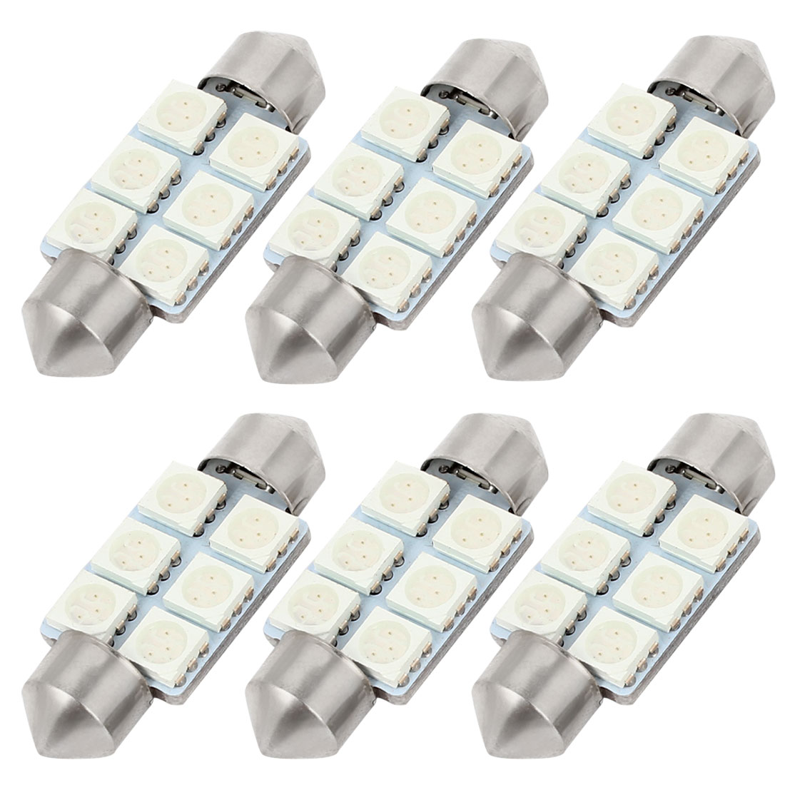 6pcs 36mm 6LED 5050 SMD Green Festoon Dome Light Bulbs DE3423 6461 Internal