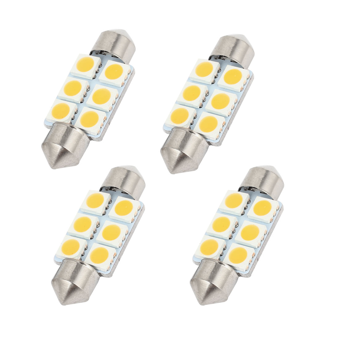 "4 Pcs 36mm 1.50"" 6-SMD 5050 Warm White LED Festoon Dome Light DE3423 Internal"