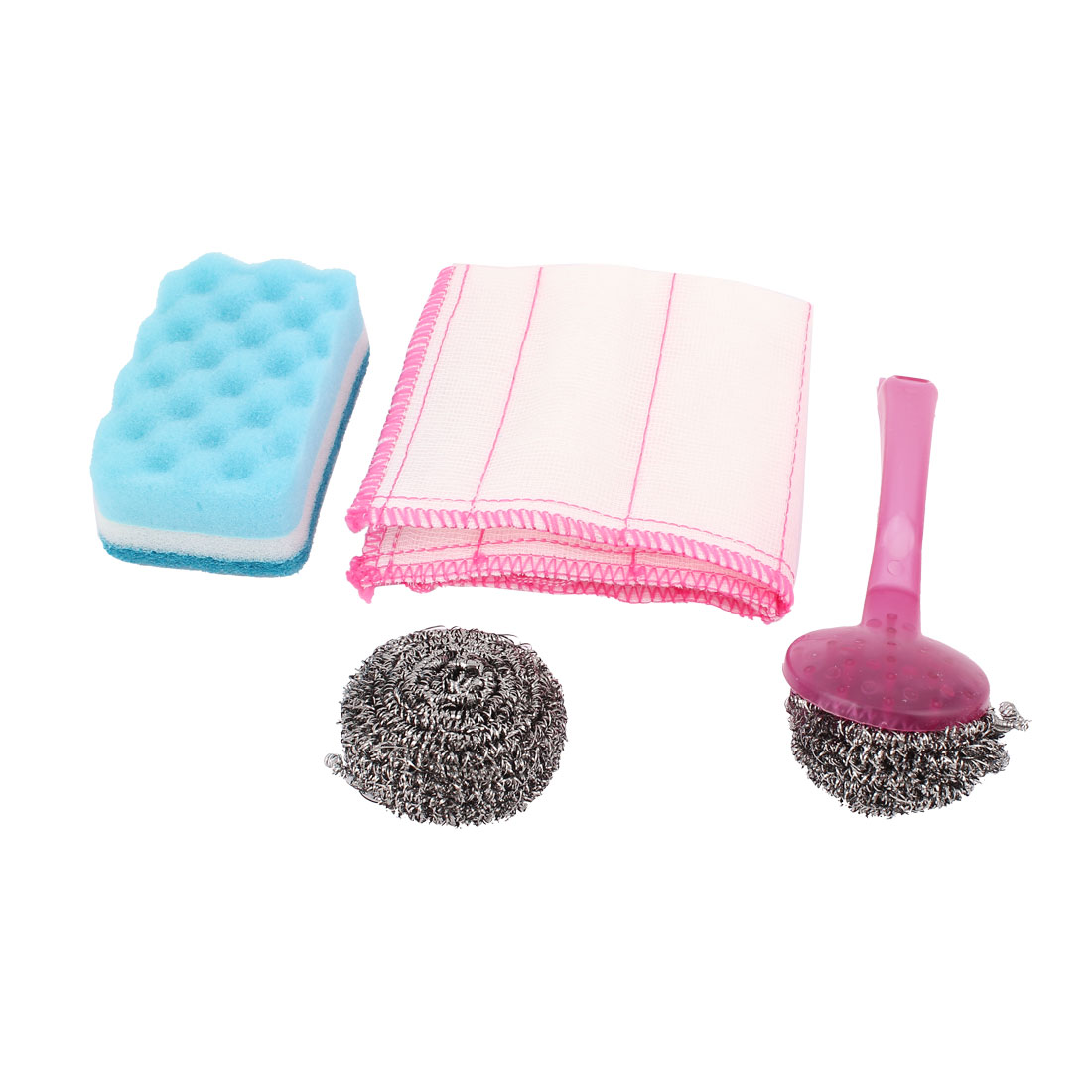 Kitchen Plastic Handle Steel Ball Scourer Sponge Pad White Cleaning Cloth Dish Washing Tool 4 in 1 Set
