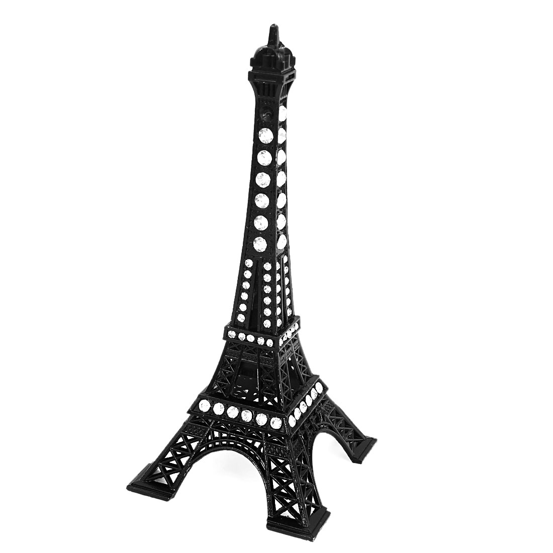Rhinestone Black Paris Eiffel Tower Figurine Sculpture Model Office Decor 13cm
