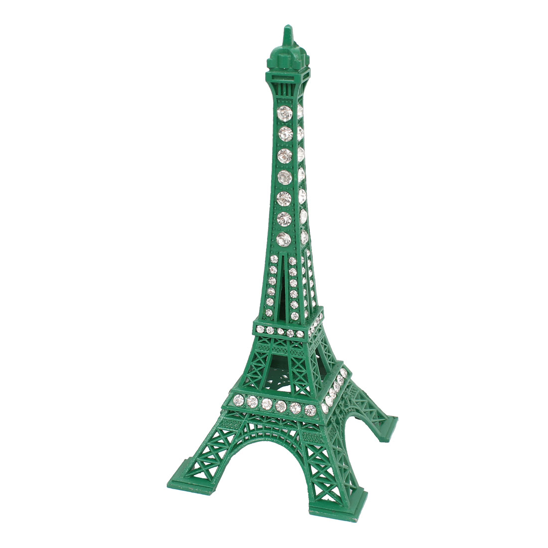 Rhinestone Detailing Mini Paris Eiffel Tower Metal Sculpture Model Green