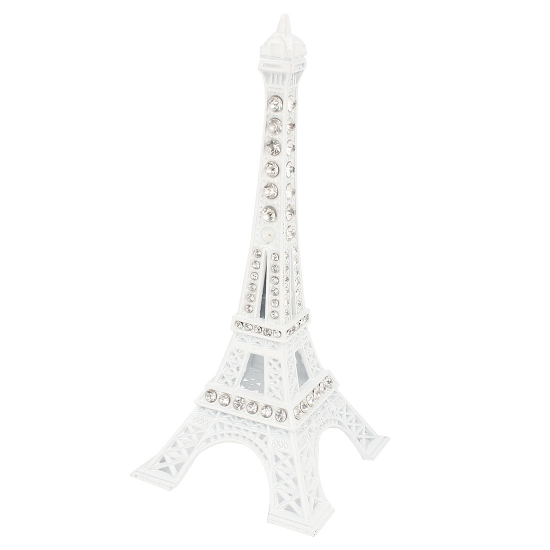 Plastic Mini Paris Eiffel Tower Figurine Statue Model Desk Decor 13cm White