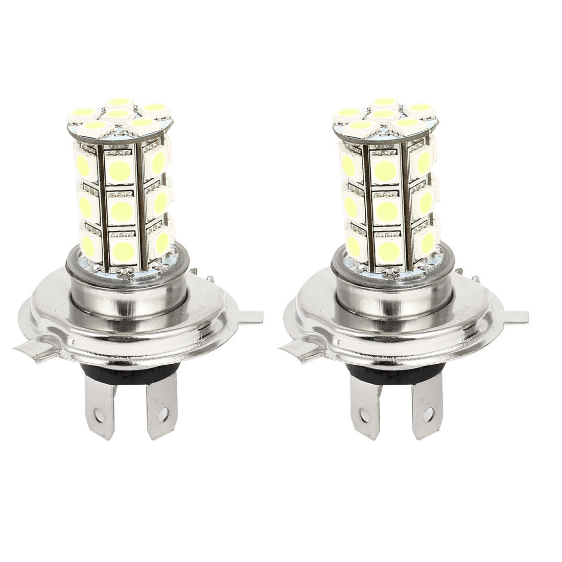 2 Pcs H4 12V 5050 SMD 27 LED Car Head Light Lamp Bulb DC 12V White