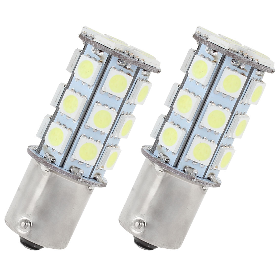 2 Pcs White 27 LED 1156 BA15S 5050 SMD Car Indicator Backup Tail Turn Light 1073 1093 1129