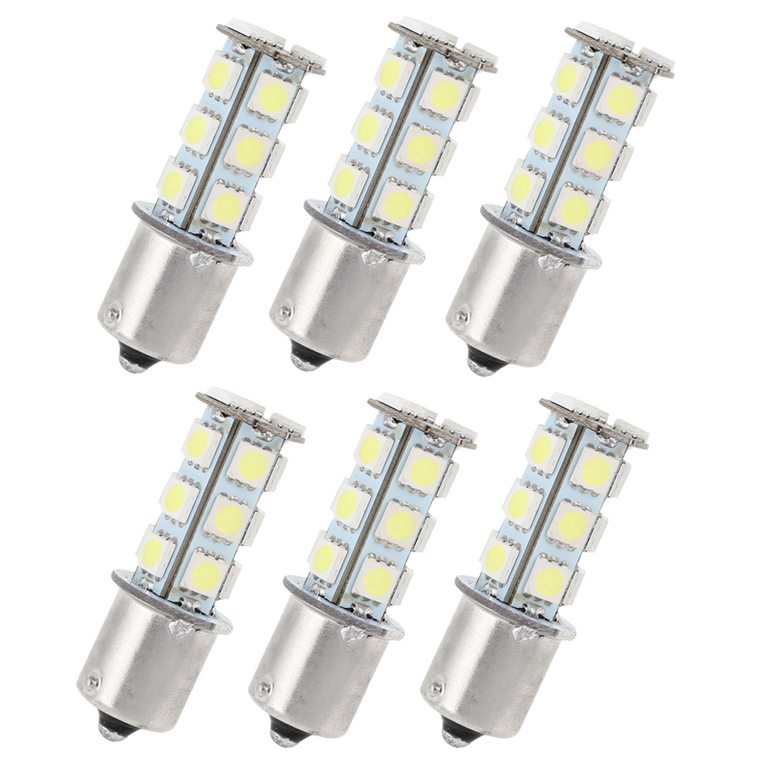 6 Pcs White 18 LED 1156 BA15S 5050 SMD Car Indicator Backup Tail Turn Light 1073 50081459