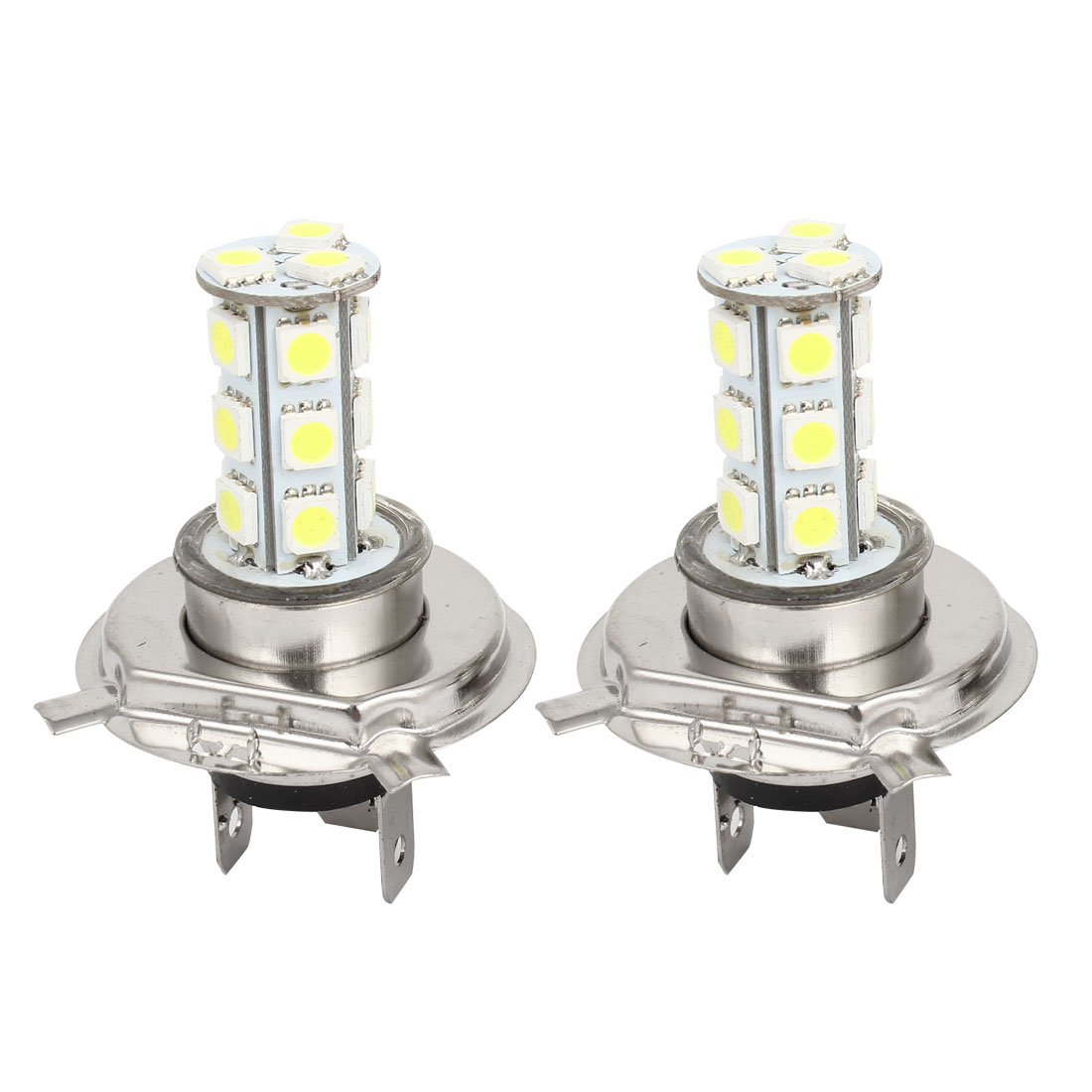 2 Pcs H4 12V 5050 SMD 18 LED Car Head Light Lamp Bulb DC 12V White
