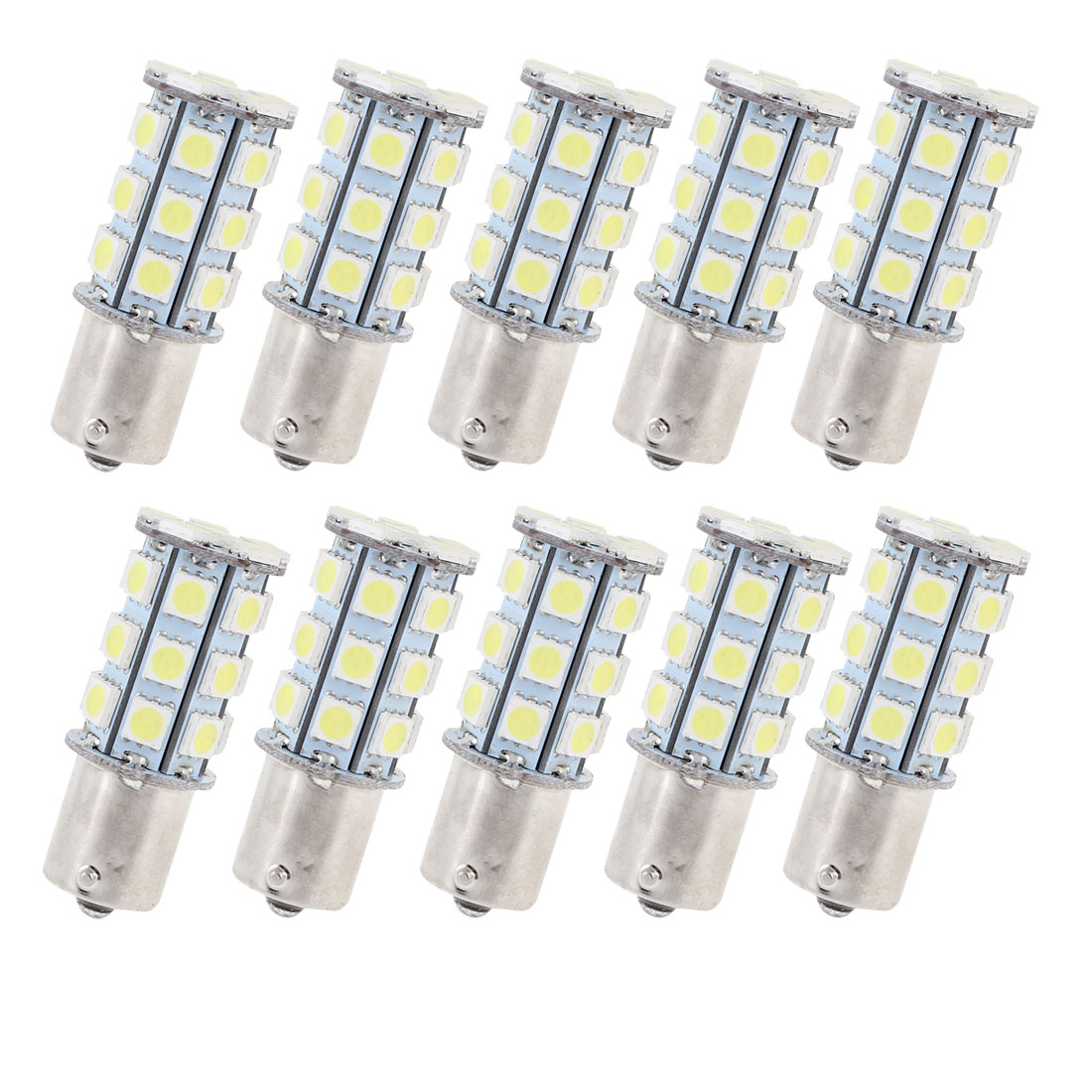 10 Pcs White 27 LED 1156 BA15S 5050 SMD Car Indicator Backup Tail Turn Light 1073 1093 1129