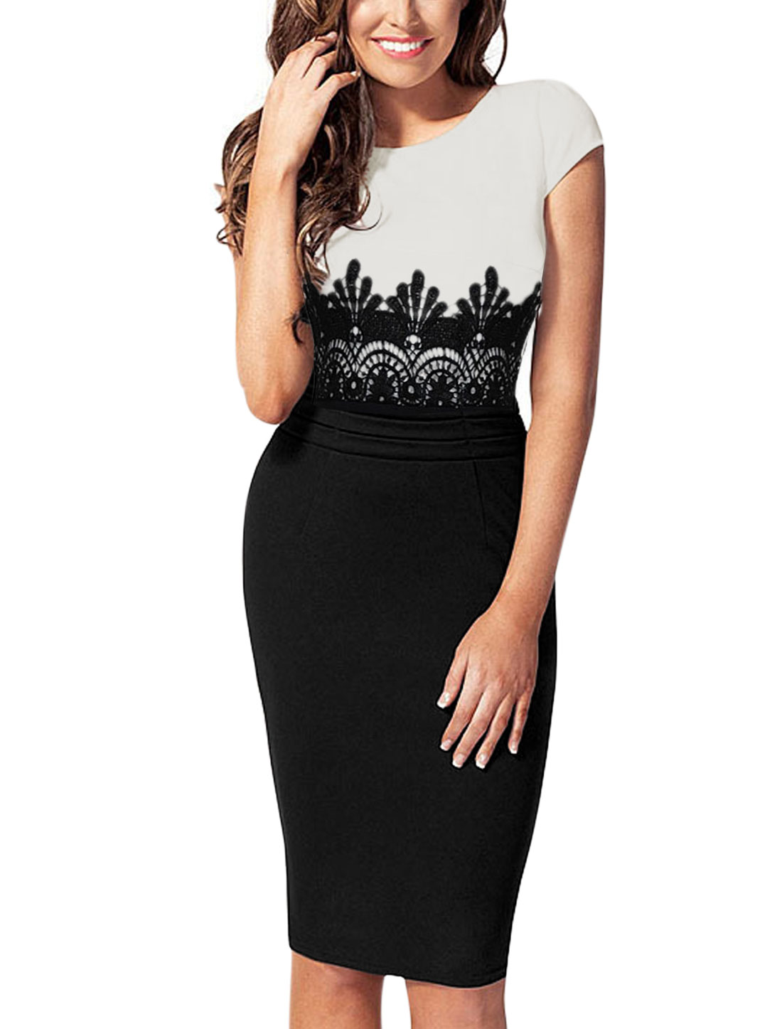 Lady Cap Sleeve Crochet Panel Hidden Zipper Back Stretch Dress Black White L