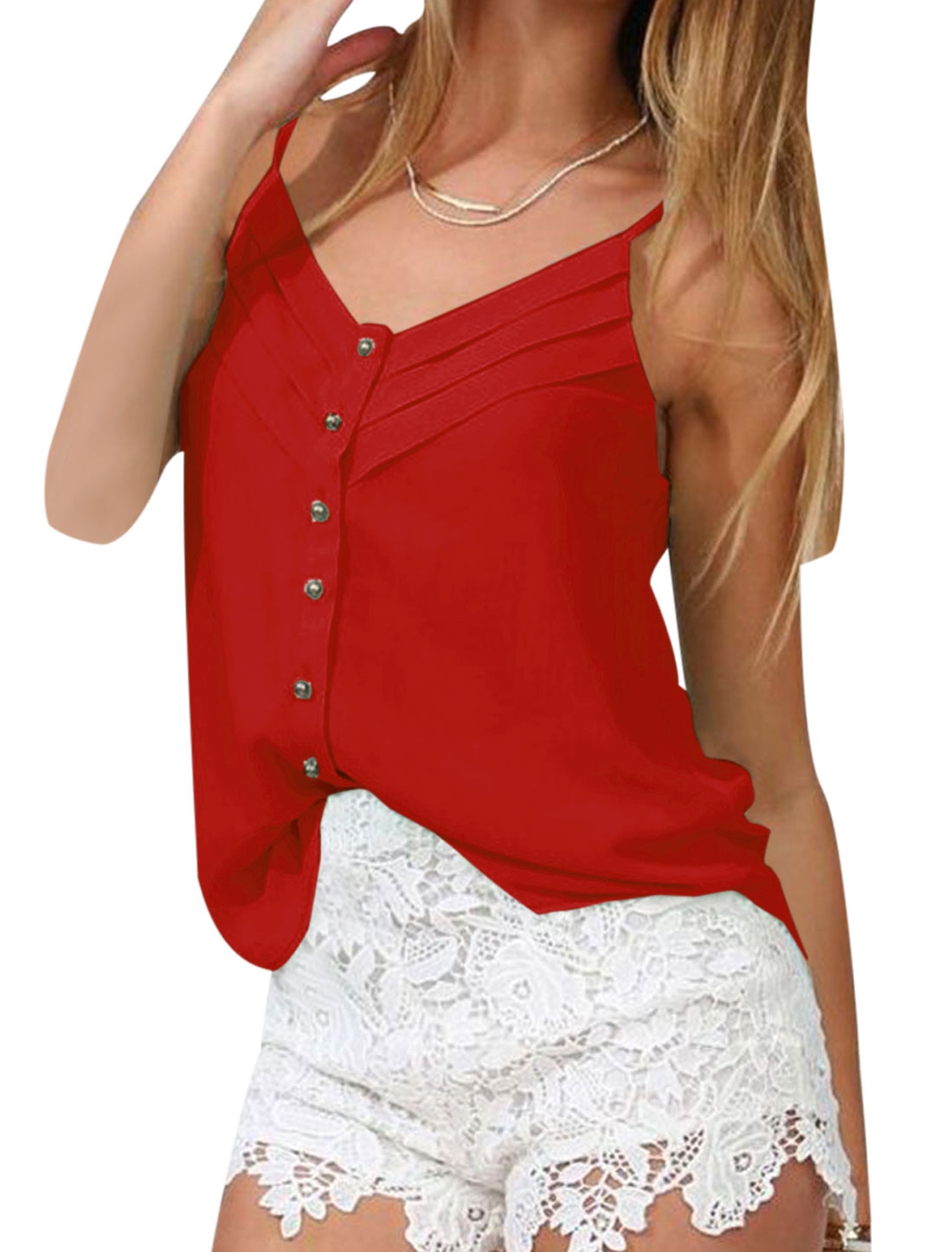 Lady V Neck Spaghetti Strap Button Up Semi Sheer Cami Top Red S