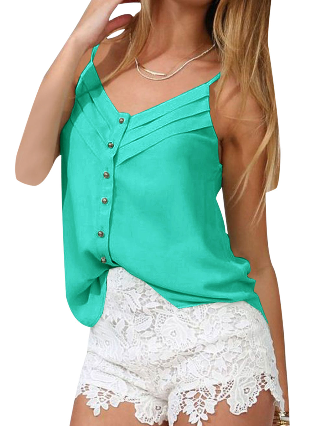 Lady V Neck Spaghetti Strap Button Closure Semi Sheer Cami Top Aqua S