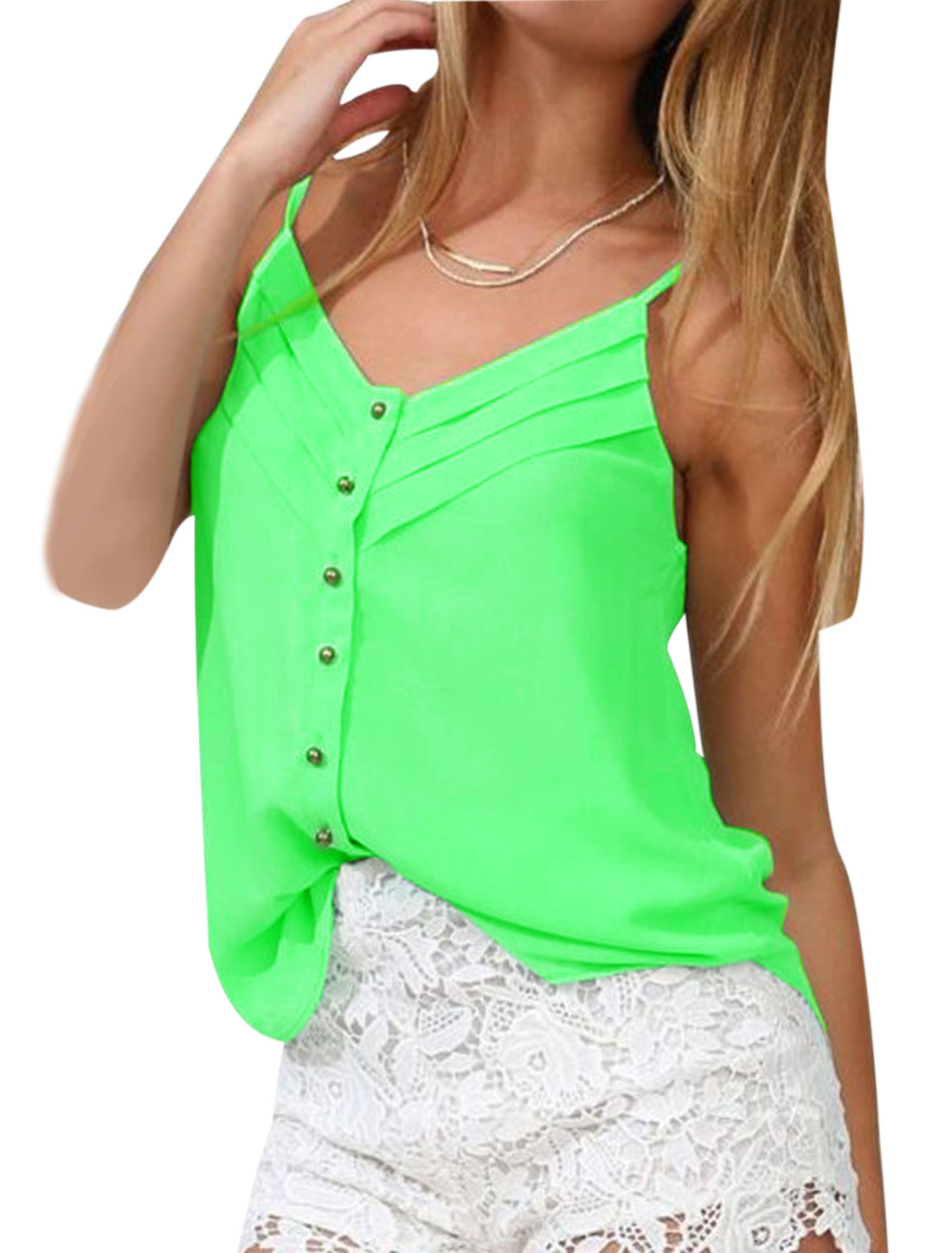 Lady V Neck Spaghetti Strap Semi Sheer Cami Top Fluorescent Green S