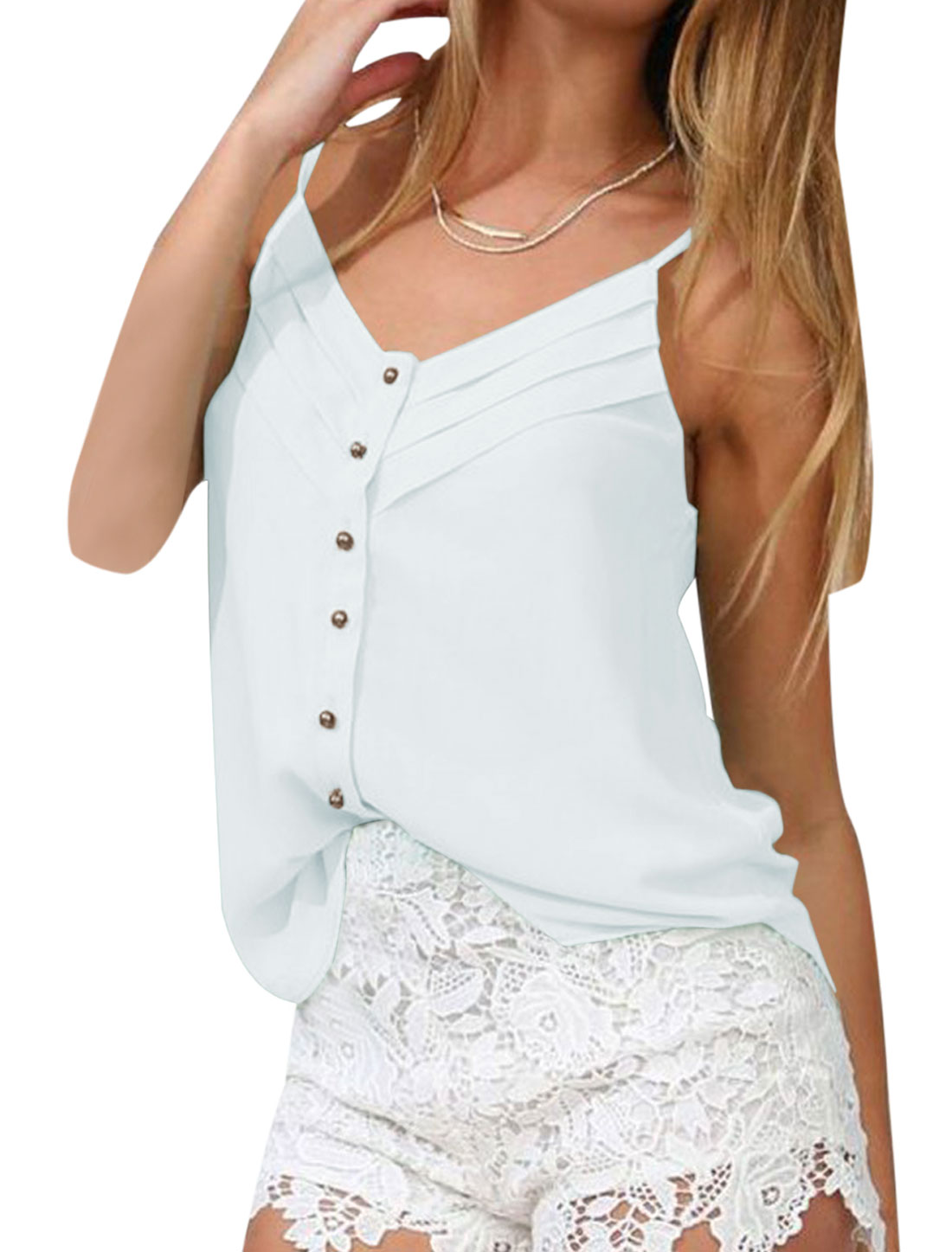 Lady Adjustable Spaghetti Strap Single Breasted Semi Sheer Cami Top White XS