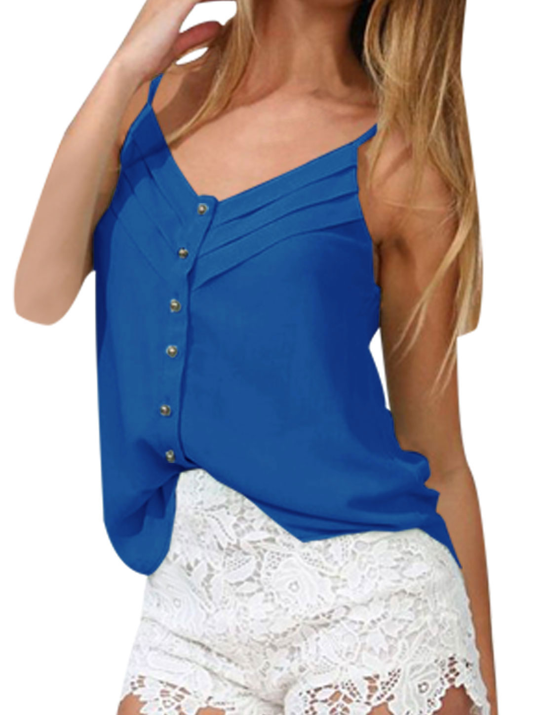 Lady V Neck Spaghetti Strap Single Breasted Lightweight Cami Top Royal Blue XS