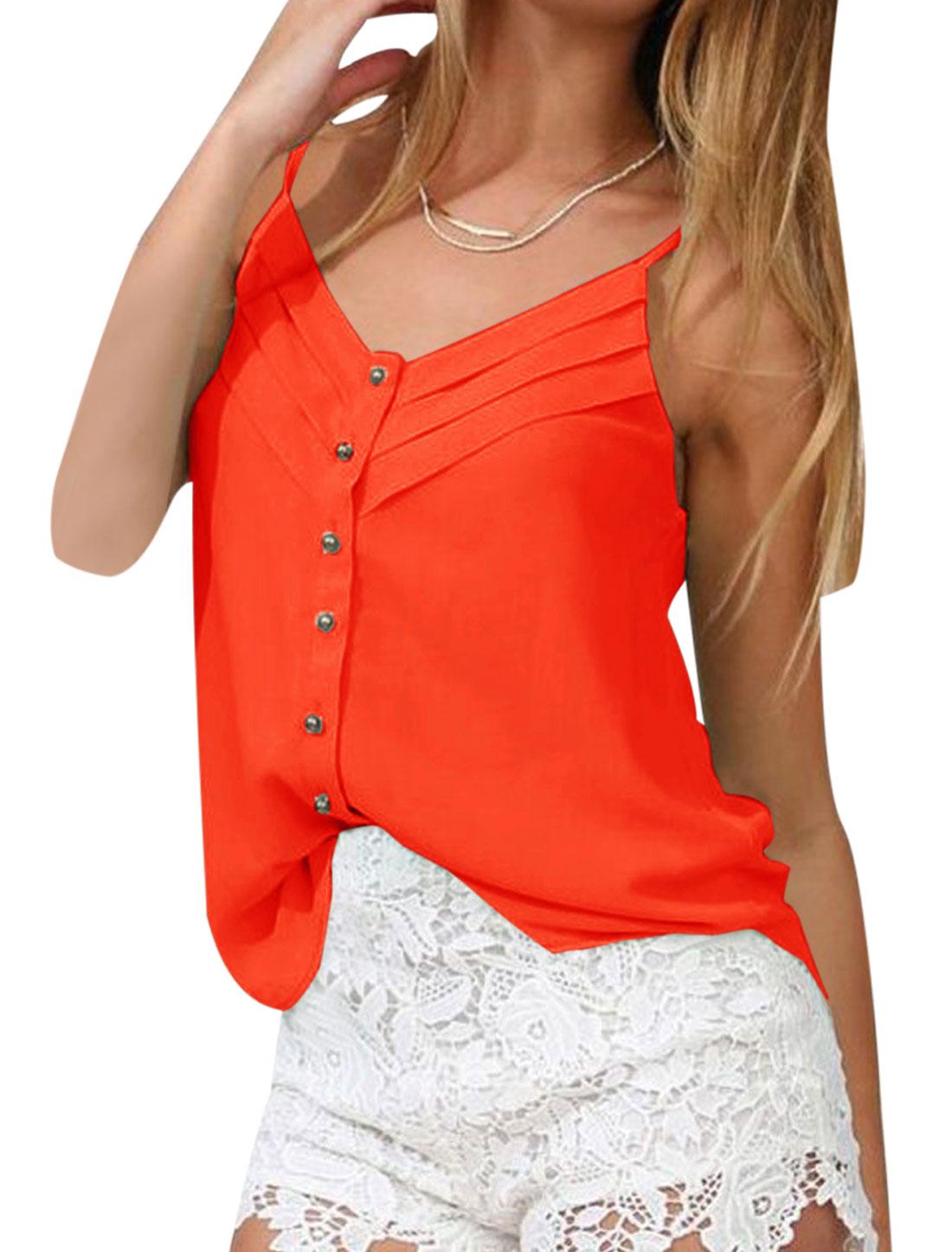 Lady V Neck Spaghetti Strap Single Breasted Sexy Cami Top Orange Red XS