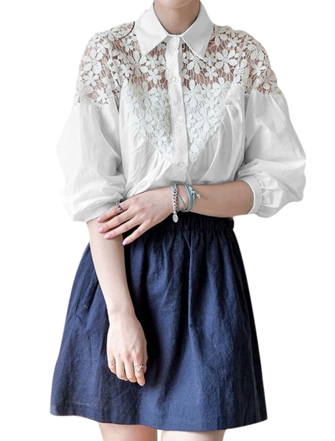 Lady 3/4 Batwing Sleeve Button Up Flower Crochet Panel Loose Shirt White S