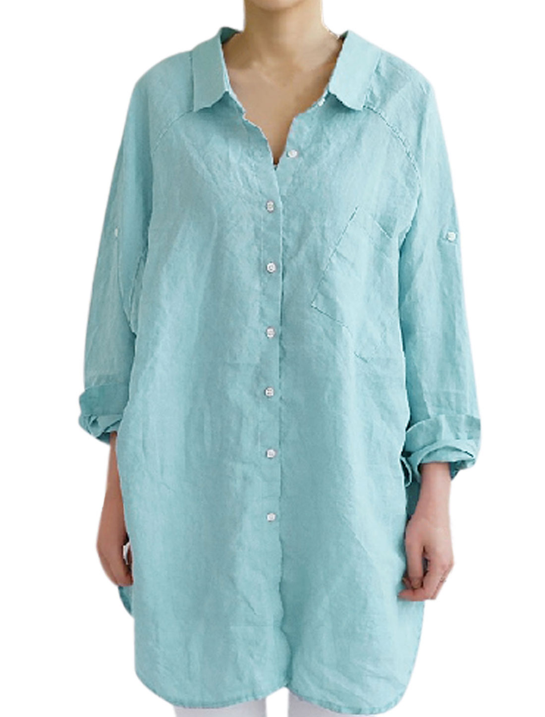 Lady's Slant Chest Pocket Button Closure Back Tunic Blouse Sky Blue S