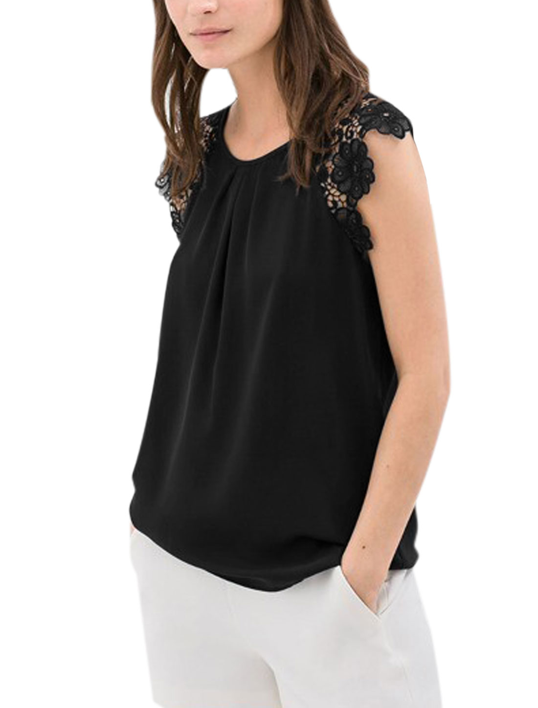 Lady Crochet Shoulder Sleeveless Spliced Unlined Chiffon Blouse Black L