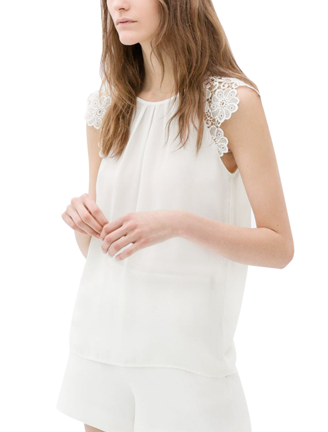 Lady Crochet Shoulder Semi Sheer Sexy Chiffon Blouse White L