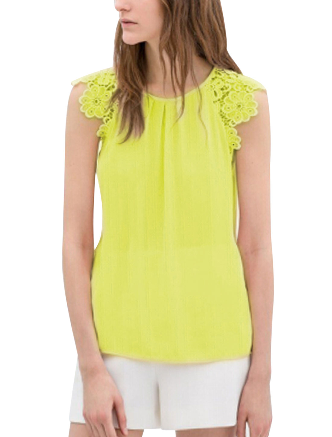 Lady Spliced Hook Flower Shouder Sleeveless Chiffon Blouse Lime L