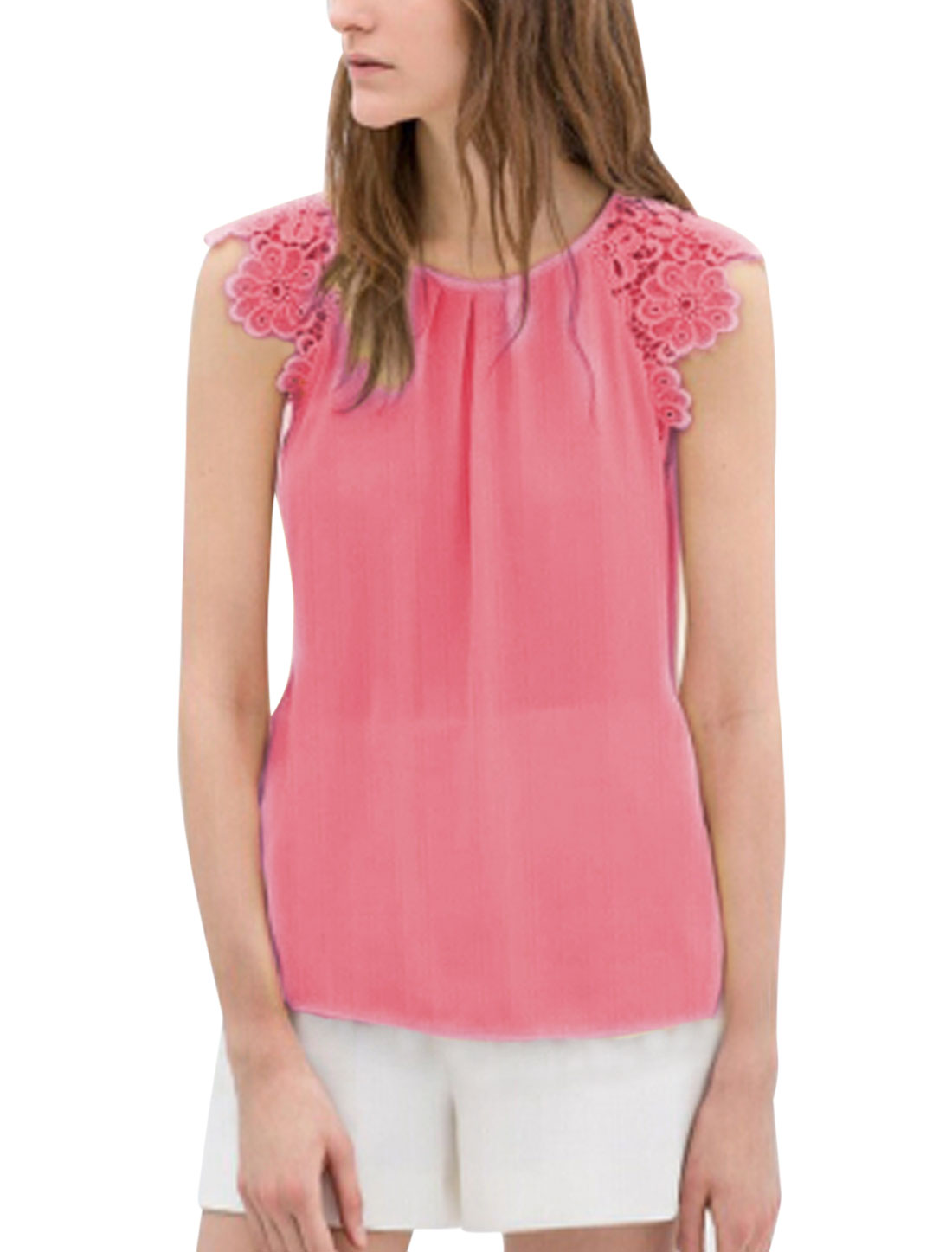 Lady Crochet Shoulder Simple Color Sleeveless Chiffon Blouse Dark Pink L