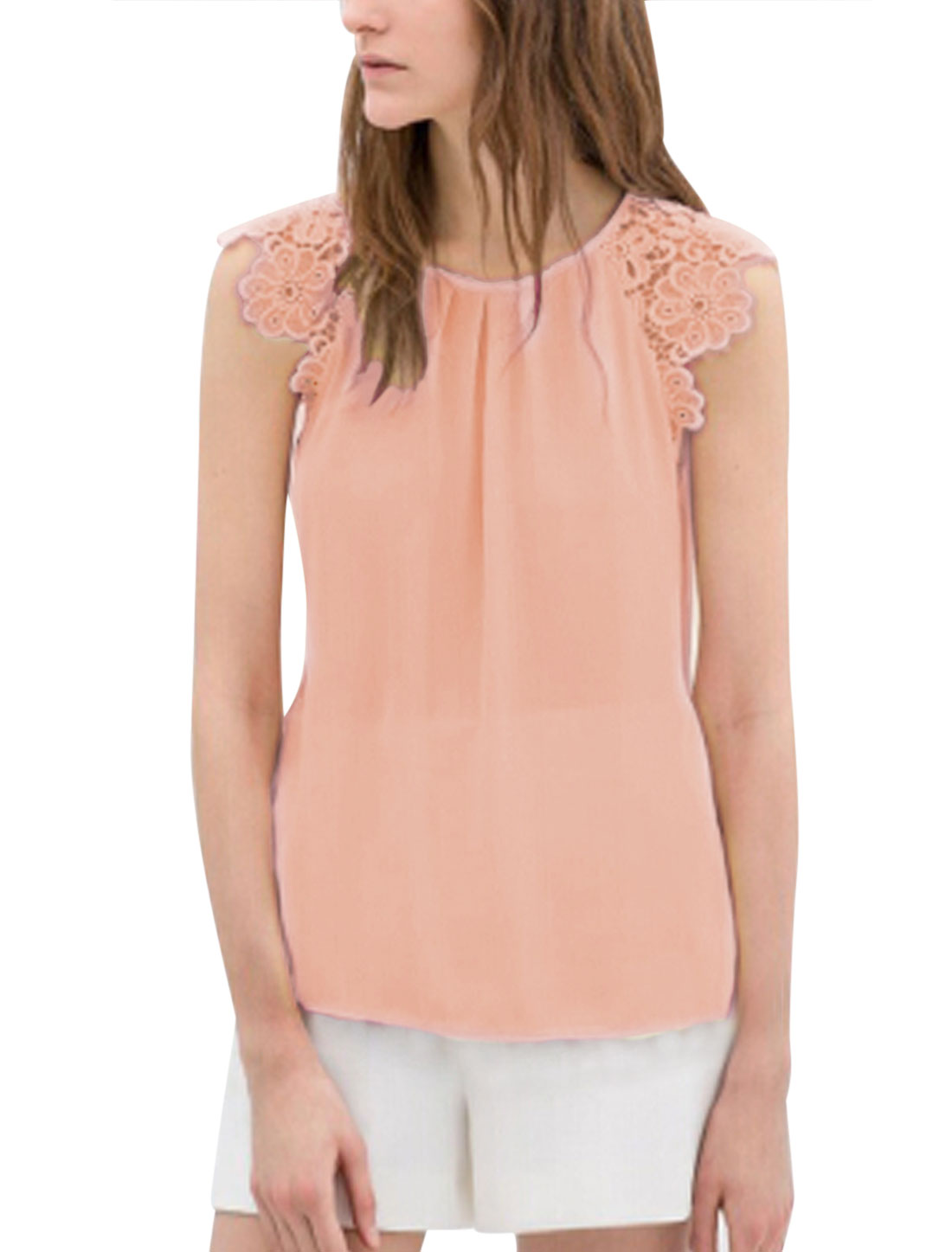 Lady Round Neck Splicing See Through Chiffon Blouse Light Pink L