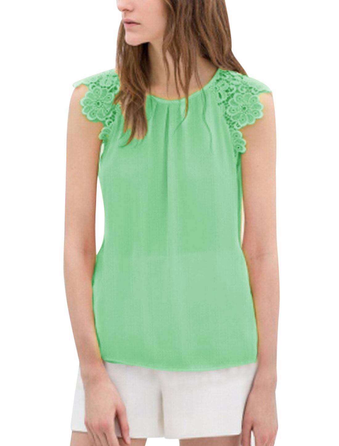 Lady Crochet Shoulder Patching See Through Chiffon Blouse Mint L