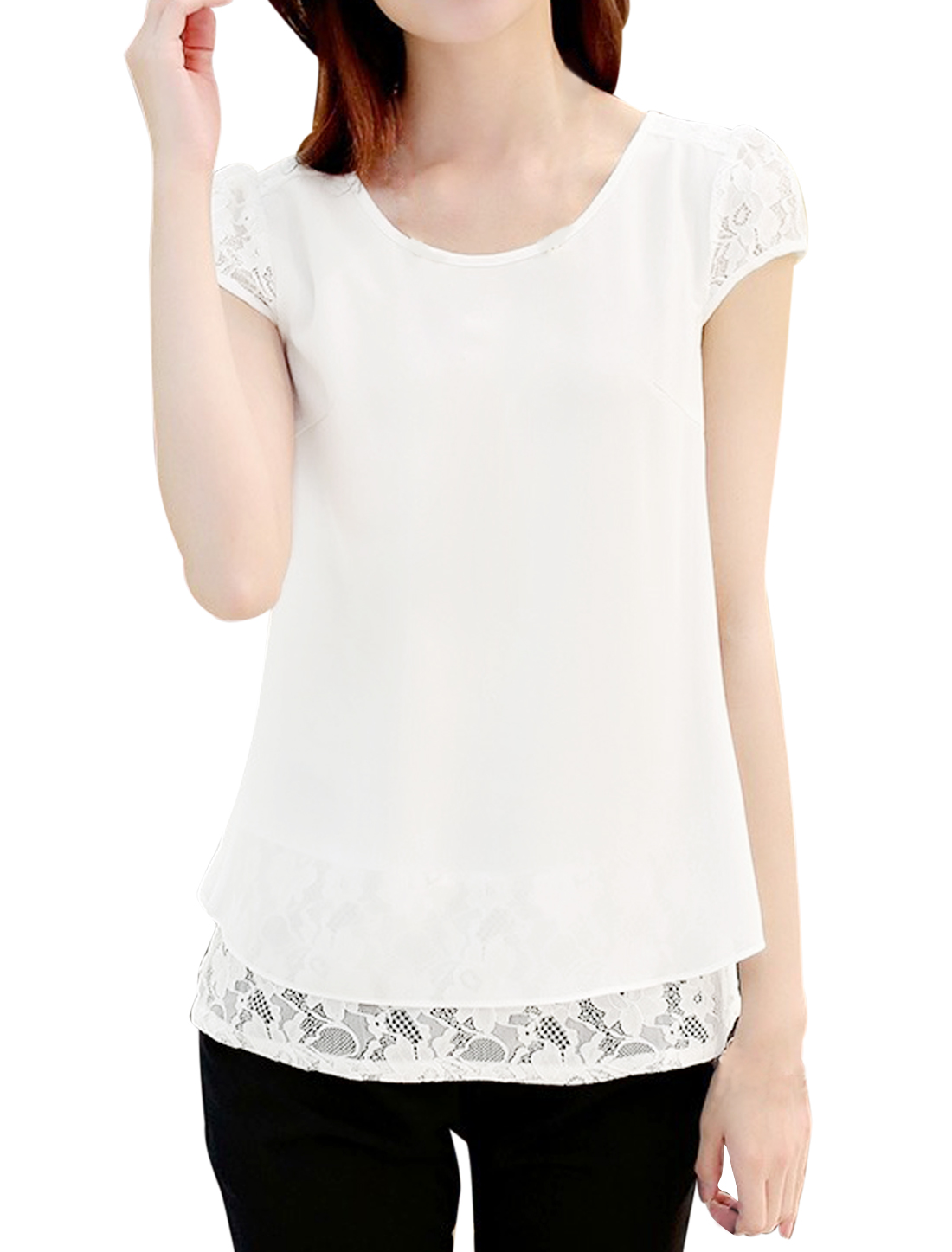 Lady Layered Shirts Split Back Lace Panel Chiffon Blouse White L