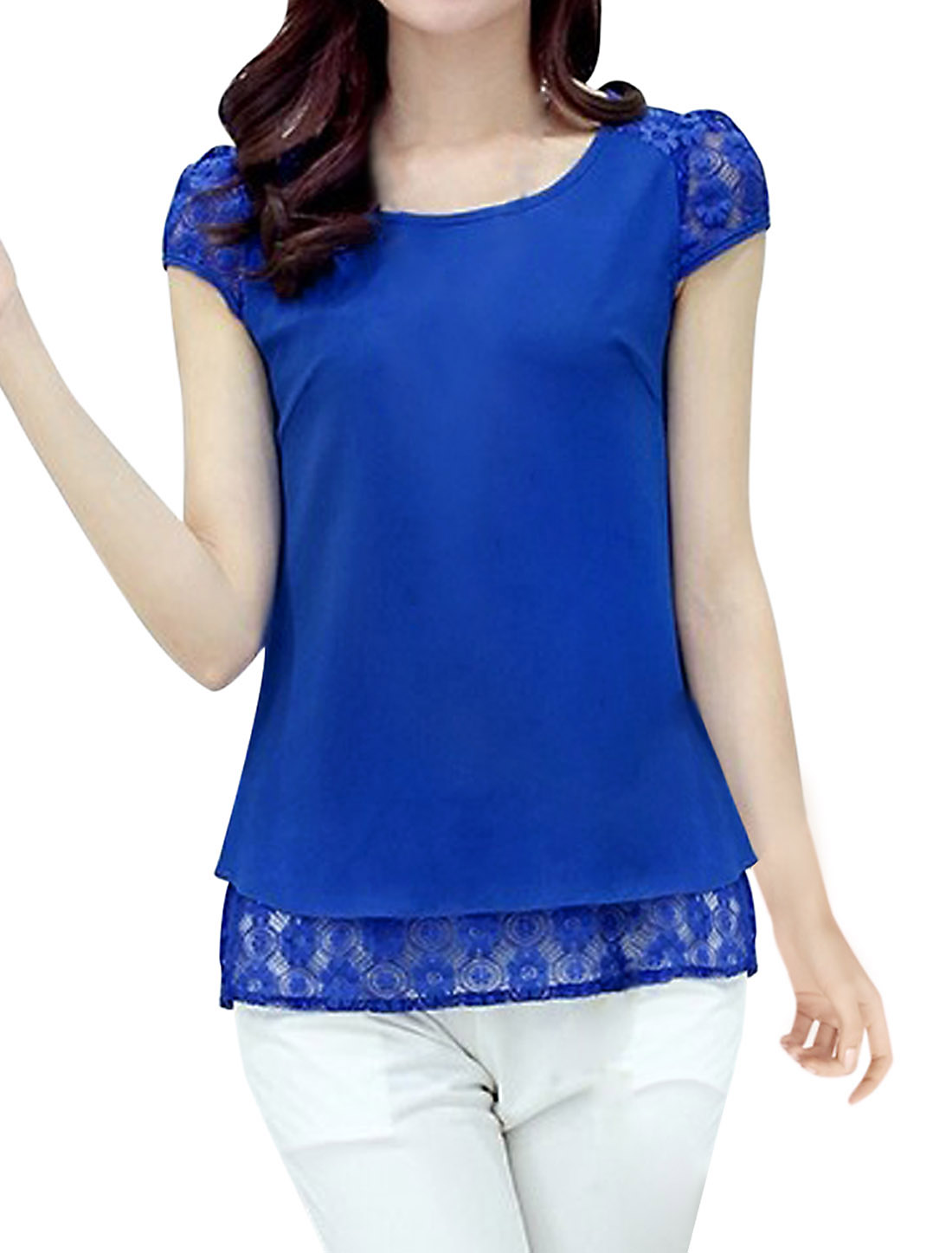 Lady Cap Sleeve Lace Panel Split Back Casual Blouse Royal Blue L