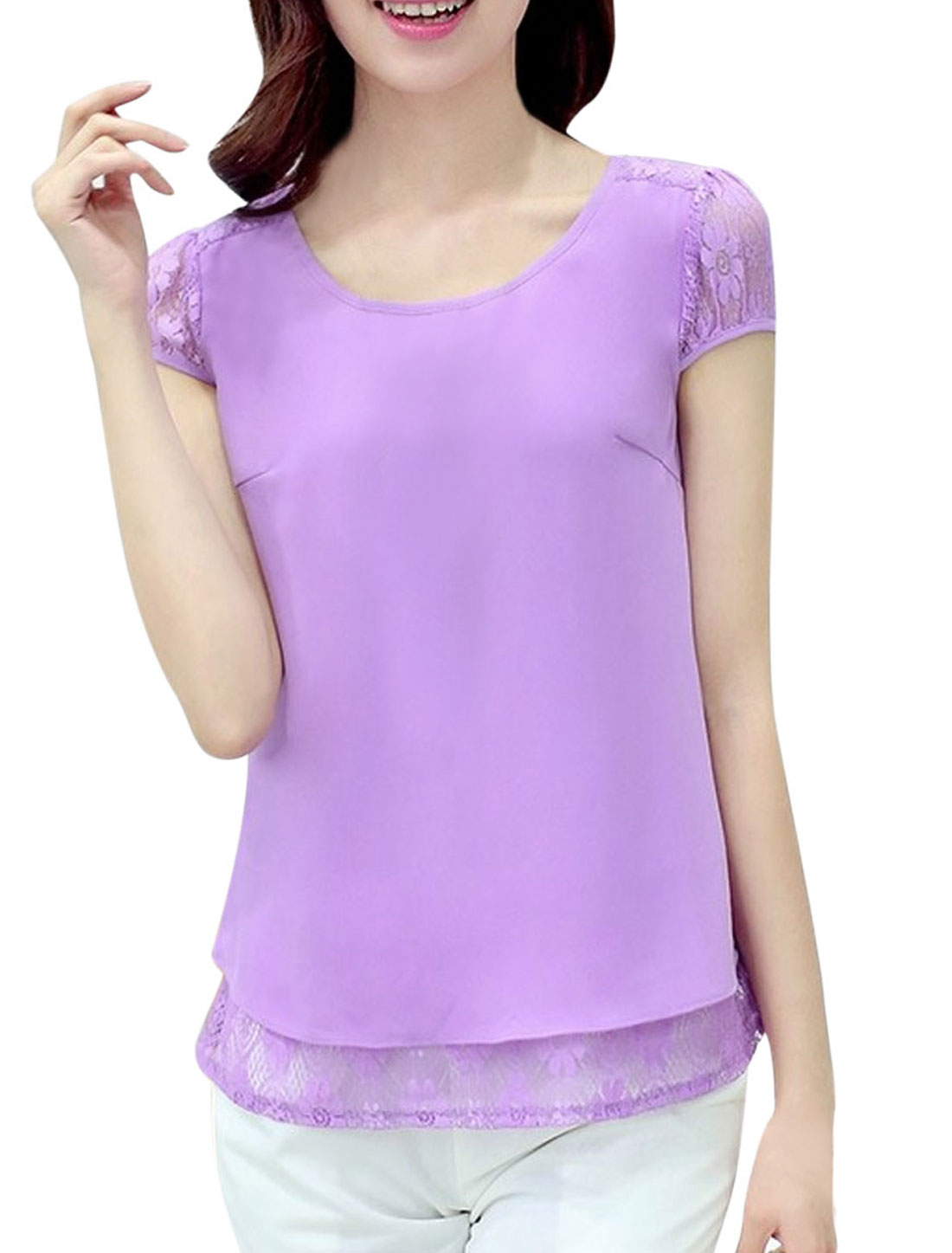 Women Simple Color Lace Panel Chiffon Blouse Violet L