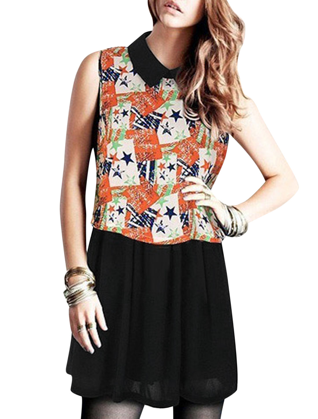 Lady Turndown Collar Sleeveless Star Prints Layered Design Dress Muticolor M